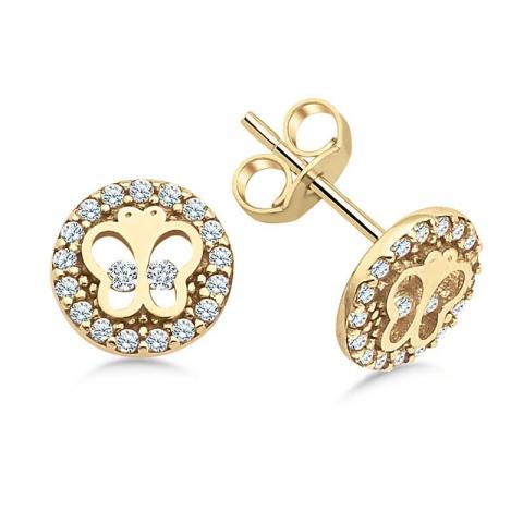 Fin fjärilar örhängen i 9 karat guld med zirkon