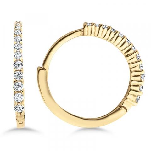 14 mm creoler örhängen i 9 karat guld med zirkon