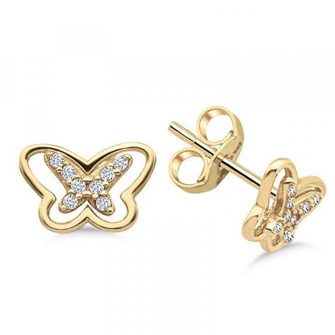 Eleganta fjärilar örhängestift i 9 karat guld med zirkon