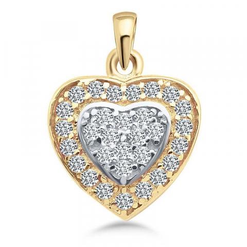 Fint hjärta hängen i 9 karat guld och vitguld