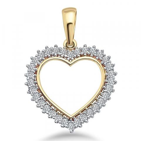 Stort hjärta hängen i 9 karat guld och vitguld