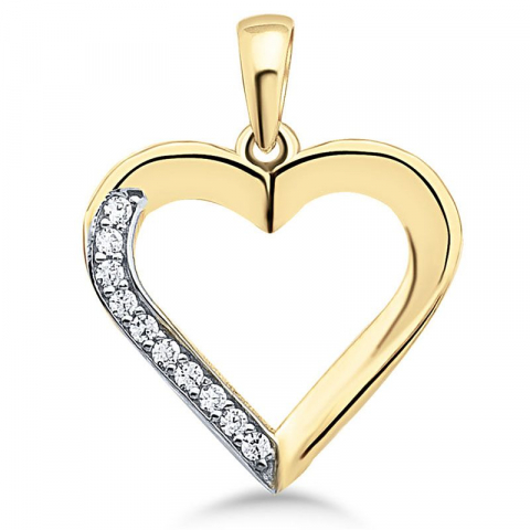 Vacker hjärta hängen i 9 karat guld och vitguld