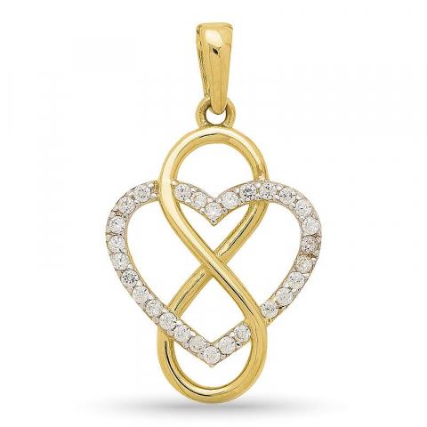 Infinity hjärta hängen i 9 karat guld