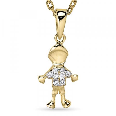 Halsband i förgyllt silver med hängen i 9 karat guld