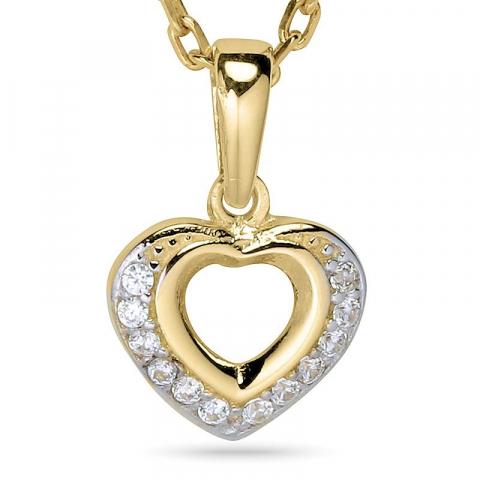 Hjärta halsband i förgyllt silver med hängen i 9 karat guld