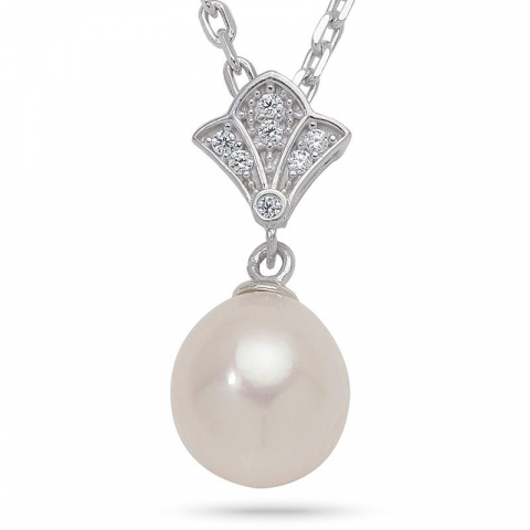 Enkel pärla hängen i 9 karat vitguld