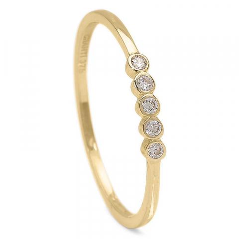 Elegant smal vit zirkon ring i 9 karat guld