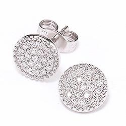 Runda diamant briljiantöronringar i 14 karat vitguld med diamanter