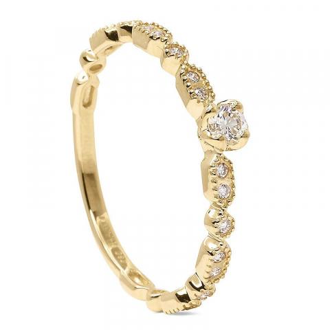 Fingerring diamant guld ring i 14  karat guld 0,16 ct