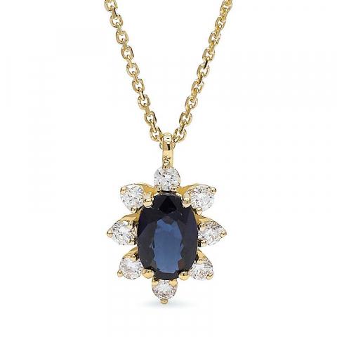 Safir hängen med halskedja i 14  carat guld 0,14 ct 0,60 ct