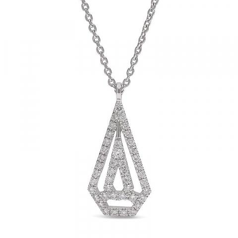 Smycke diamantberlocker med halskedja i 14  carat vitguld 0,14 ct