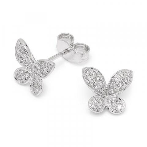 Fjärilar diamant briljiantöronringar i 14 karat vitguld med diamanter