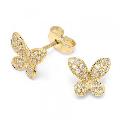 Fjärilar diamantörhängen i 14 karat guld med diamanter