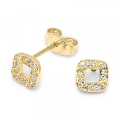 Fyrkantigt diamantörhängen i 14 karat guld med diamanter