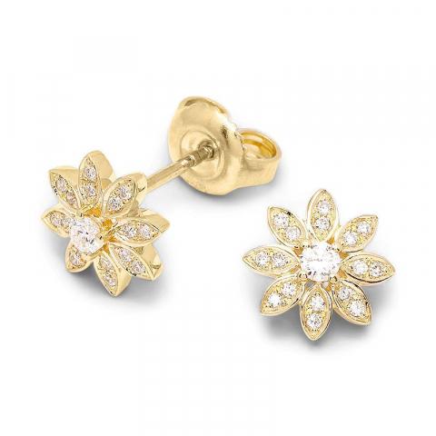 Sköna blommor briljiantöronringar i 14 karat guld med diamanter