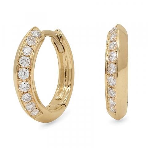 fina 12 mm diamant creol i 14 karat guld med diamant