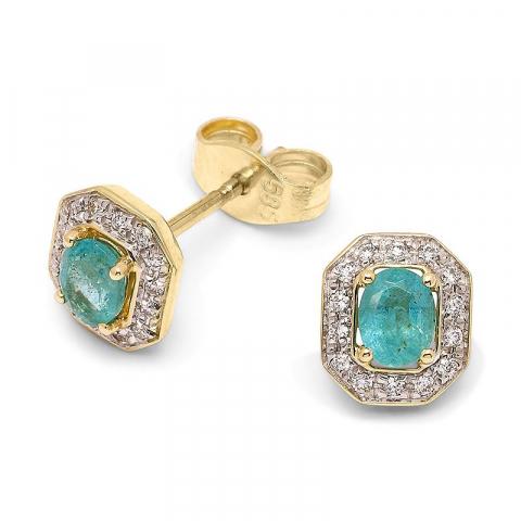 Gröna smaragd briljiantöronringar i 14 karat guld med rhodium med diamanter och smaragder