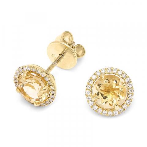 Briljiantöronringar i 14 karat guld med diamanter och kvarts