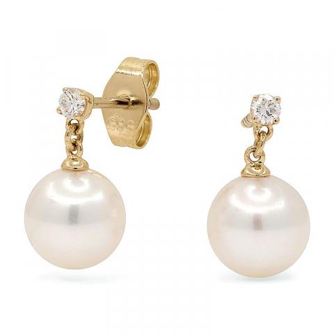 Vackra vita pärla briljiantöronringar i 14 karat guld med diamanter