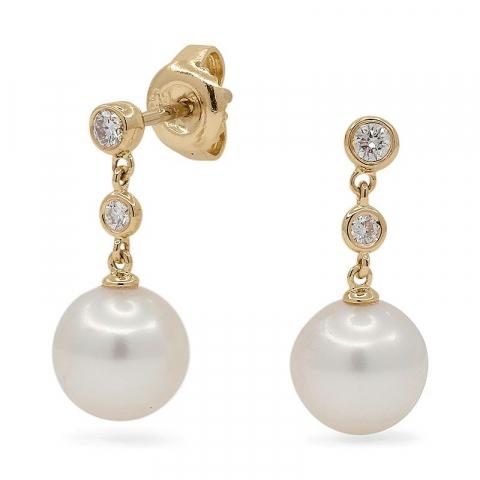 Vita pärla diamantörhängen i 14 karat guld med diamanter