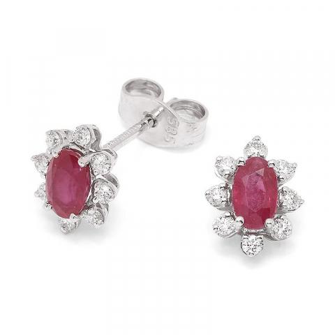 Äkta  rubin briljiantöronringar i 14 karat vitguld med diamanter och rubiner