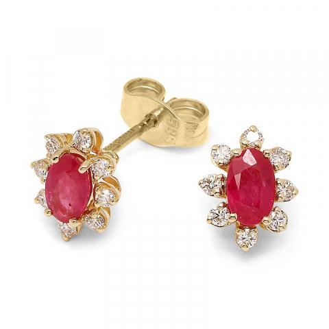 Rubin diamantörhängen i 14 karat guld med diamanter och rubiner