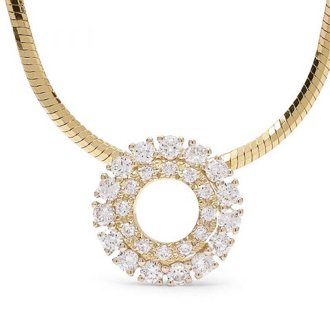Runt diamant hängen i 14  carat guld 0,26 ct