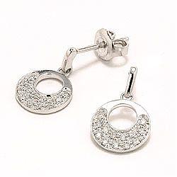 Runda diamant diamantörhängen i 14 karat vitguld med diamanter