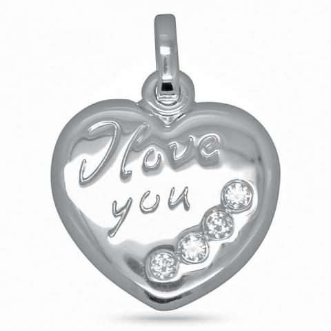 Sött i love you hjärthängen i silver