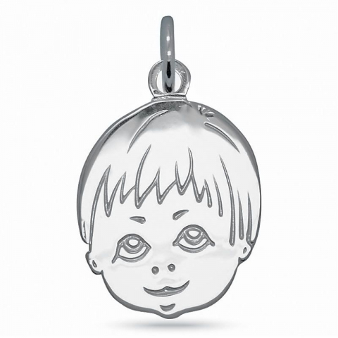 Fin pojkehuvud hängen i silver