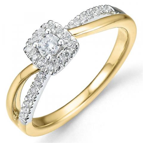 Beställningsvare - diamantring i 14  karat guld- och vitguld 0,10 ct 0,25 ct