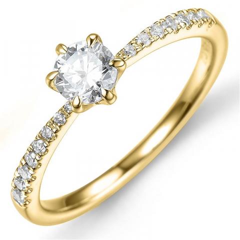 Beställningsvare - diamantring i 14  karat guld 0,42 ct 0,13 ct