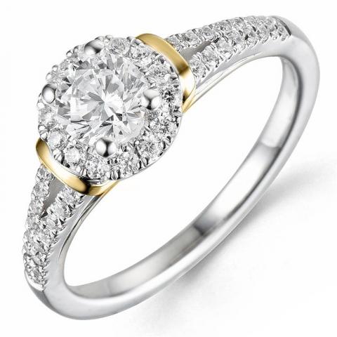 Beställningsvare - diamantring i 14  karat guld- och vitguld 0,52 ct 0,26 ct