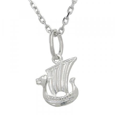 Klassisk vikingaskepp hängen i silver