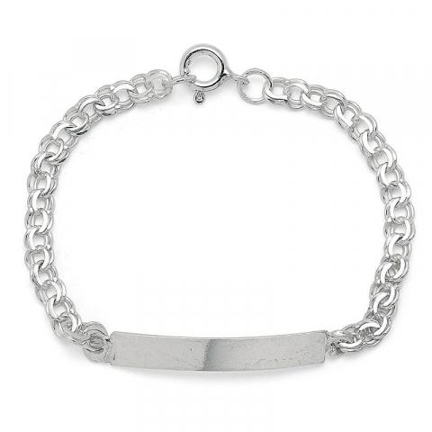 Enkel platta barnarmband i silver med hängen i silver