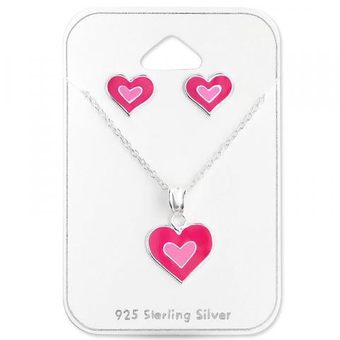 Hjärta set med örhängen och halsband i silver