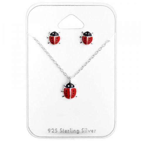 Nyckelpiga set med örhängen och halsband i silver