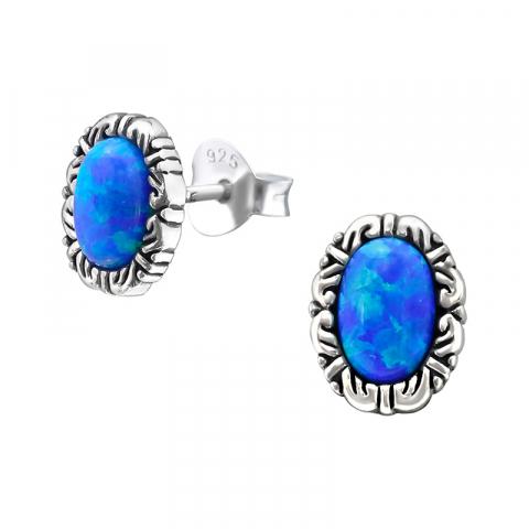 Ovala blå opal örhängen i oxiderat sterlingsilver