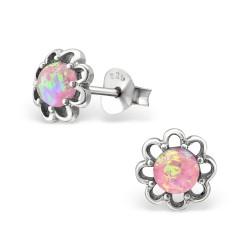 Blommor rosa örhängen i oxiderat sterlingsilver