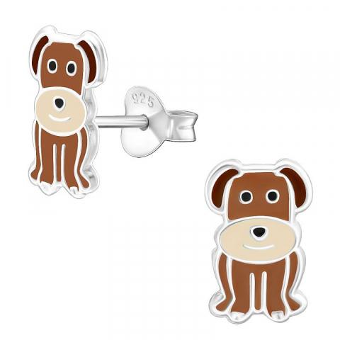 Fina hundar örhängen i silver