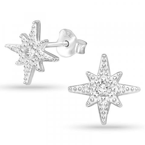 Stjärna zirkon örhängestift i silver