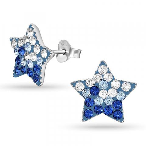 Stjärna kristal örhängen för barn i silver
