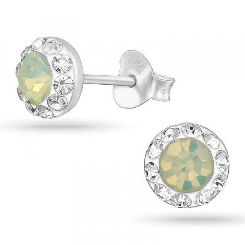 Rund kristal örhängestift i silver
