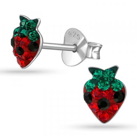 Söta jordgubbe örhängen för barn i silver