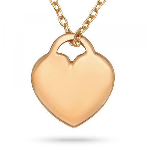 Hjärta halsband i rosabelagt silver med hängen i rosabelagt silver