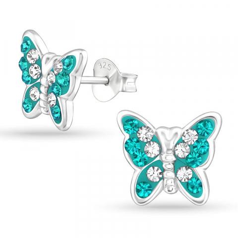 Vackra fluga kristal örhängestift i silver