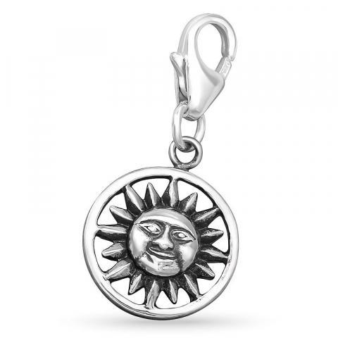 Runt sol charm i silver
