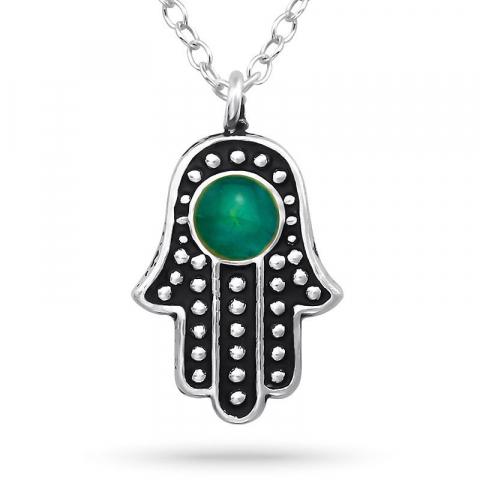 stämnings Hamsas hand halsband i silver med hängen i silver