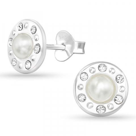 Rund pärla örhängestift i silver