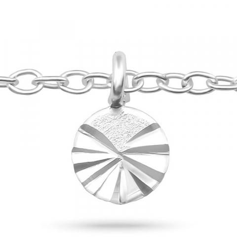 Rund fotlänk  i silver med hängen i silver